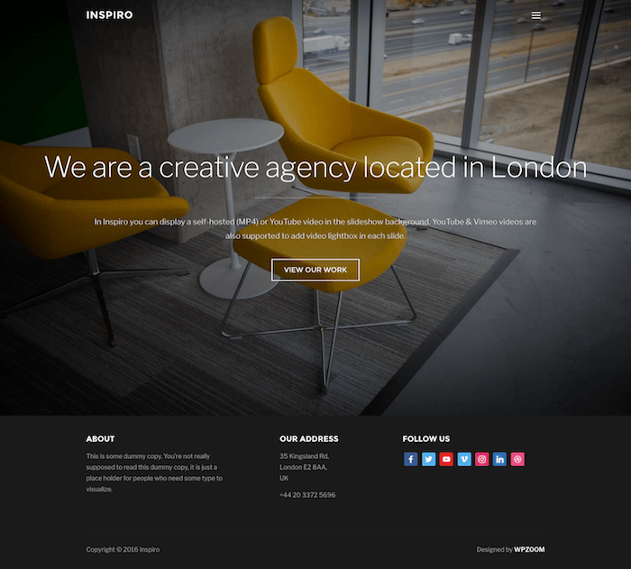 Demo of the Inspiro WordPress gallery theme homepage