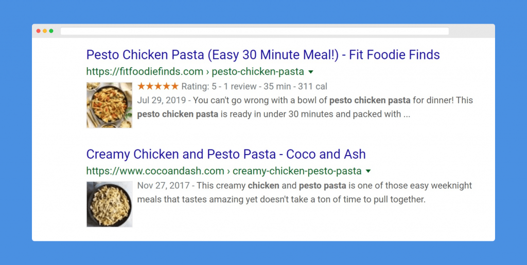 Image shows rich results of food recipes from Recipe Cards Block Pro