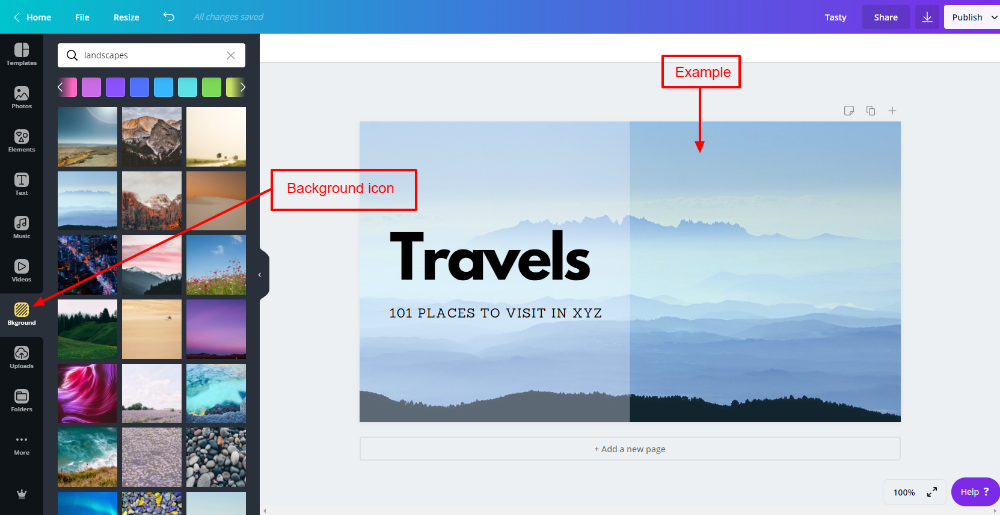 Backgrounds in Canva