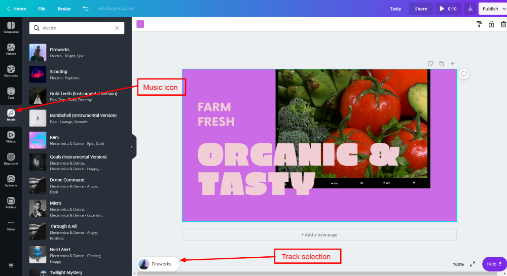Music options in Canva