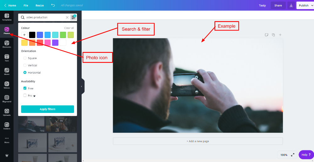 Photos for blog posts & featured images in Canva