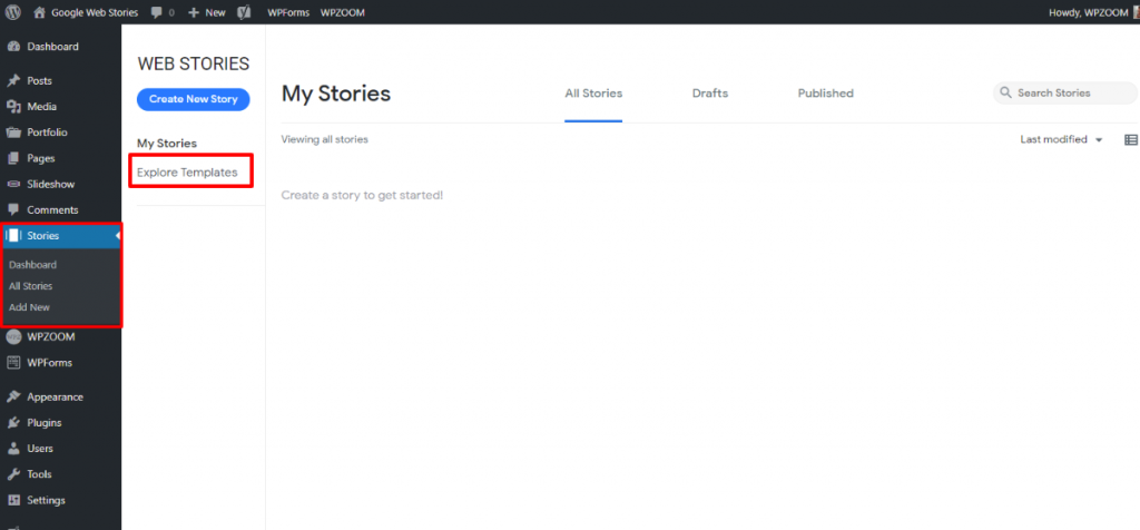 Web Stories Overview page