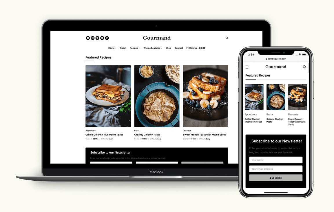 Gourmand is our favorite of these food blog WordPress themes