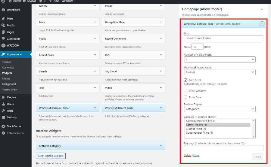 Carousel slider option in our WordPress movie themes
