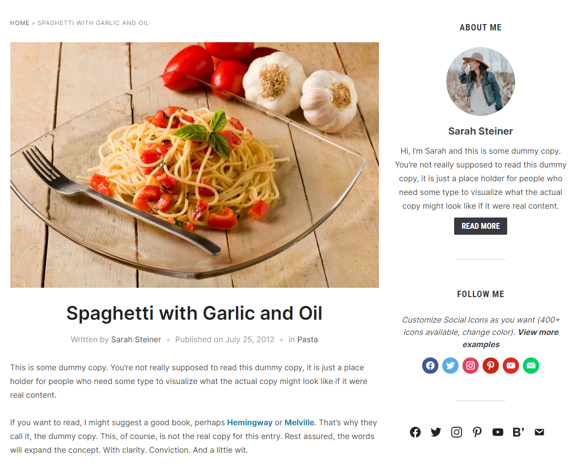Social icons in food blog